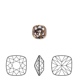 embellishment, swarovski crystal rhinestone, vintage rose, foil back, 8mm faceted cushion fancy stone (4470). sold per pkg of 72.