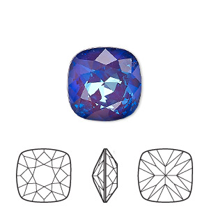 embellishment, swarovski crystal rhinestone with third-party coating, crystal passions, ultra purple ab, 12x12mm faceted cushion fancy stone (4470). sold individually.