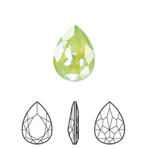 embellishment, swarovski crystal rhinestone with third-party coating, ultra green ab, 18x13mm faceted pear fancy stone (4320). sold per pkg of 48.
