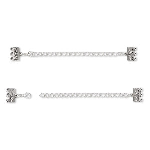 end bar, antique silver-finished pewter (zinc-based alloy), 32x13mm with 13x6mm 3-strand rectangle and 3-inch extender chain with lobster claw clasp. sold per pkg of 6.