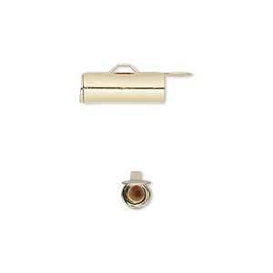 end bar, gold-finished brass, 14x5mm round tube with fold-in ends, 4mm inside diameter. sold per pkg of 10.