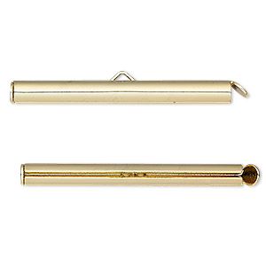 end bar, gold-finished brass, 40x4mm round tube with fold-in ends, 2.75-3mm inside diameter. sold per pkg of 10.