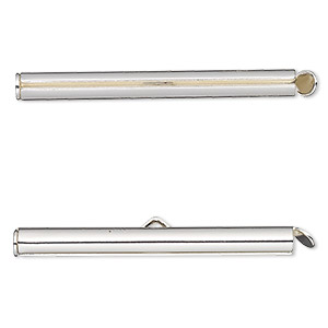 end bar, imitation rhodium-plated brass, 40x4mm round tube with fold-in ends, 2.75-3mm inside diameter. sold per pkg of 10.