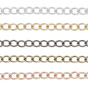 extender chain, gold- / silver- / gunmetal- / copper- / antique gold-plated brass, 3.5mm curb. sold per pkg of (5) 3-inch sections.
