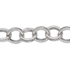 extender chain, hill tribes, fine silver, 10.5mm engraved rolo, 2 inches. sold individually.
