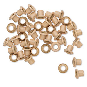 eyelet, acrylic and brass, beige, 5x4mm with 3x3mm tube and 2.2mm inside diameter, fits 3.5-5mm hole. sold per pkg of 50.