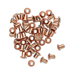 eyelet, copper-plated brass, 3.5mm with 3x2.4mm tube and 1.7mm inside diameter, fits 2.5-3.5mm hole. sold per pkg of 50.