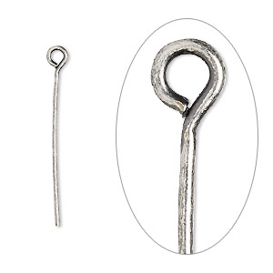eyepin, antique silver-plated brass, 1 inch, 21 gauge. sold per pkg of 100.