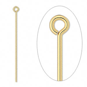eyepin, gold-plated brass, 1-1/2 inches, 21 gauge. sold per pkg of 100.