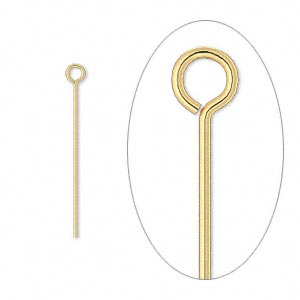 eyepin, gold-plated brass, 1 inch, 24 gauge. sold per pkg of 100.