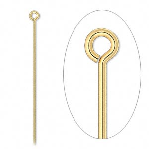 eyepin, gold-plated brass, 2-1/2 inches, 21 gauge. sold per pkg of 100.