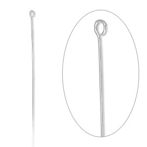 eyepin, sterling silver-filled, 2-1/16 inches, 26 gauge. sold per pkg of 100.