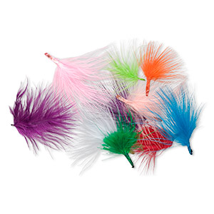 feather mix, turkey (dyed), mixed colors, 2-4 inch marabou style. sold per 0.5-ounce pkg, approximately 220 feathers.