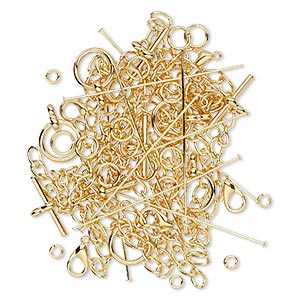 finding, gold-plated brass and pewter (zinc-base alloy), assorted shape. sold per pkg of 50.