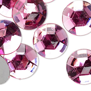 flat back, acrylic, transparent pink, 25mm faceted round. sold per pkg of 12.
