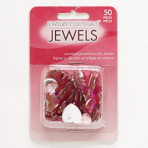 flat back mix, acrylic, light to dark pink, 12x12mm-16x16mm faceted heart. sold per pkg of 50.
