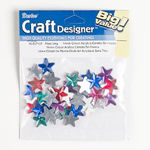 flat back mix, acrylic, mixed colors, foil back, 15x15mm faceted star. sold per pkg of 45.