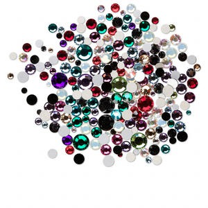 flat back mix, swarovski crystal rhinestone, mixed colors, foil back, 2-7mm xilion rose (2058). sold per 10-gram pkg, approximately 250-500 flat backs.