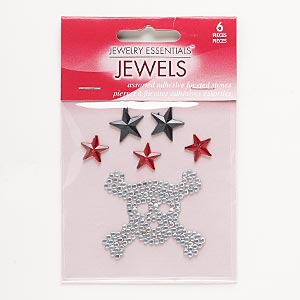 flat back, self-adhesive acrylic, clear / black / red, 11x11mm faceted star / 13x13mm faceted star / 40x35mm skull and crossbones. sold per pkg of 6.