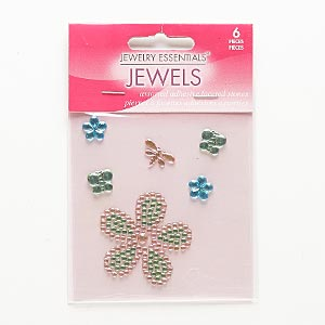 flat back, self-adhesive acrylic, pink / green / blue, assorted size and shape. sold per pkg of 6.