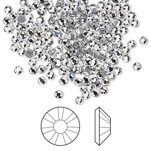 flat back, swarovski crystal hotfix rhinestone, crystal clear, foil back, 2.3-2.5mm xilion rose (2038), ss8. sold per pkg of 1,440 (10 gross).