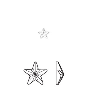 flat back, swarovski crystal hotfix rhinestone, crystal passions, crystal clear, foil back, 5.5x5mm faceted rivoli star (2816). sold per pkg of 48.