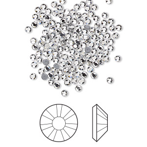 flat back, swarovski crystal hotfix rhinestone, crystal passions, crystal clear, foil back, 1.9-2.1mm xilion rose (2038), ss6. sold per pkg of 144 (1 gross).