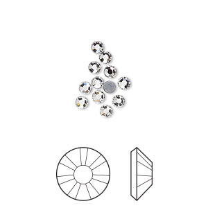 flat back, swarovski crystal hotfix rhinestone, crystal passions, crystal clear, foil back, 2.7-2.9mm xilion rose (2038), ss10. sold per pkg of 12.