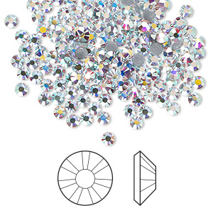 flat back, swarovski crystal hotfix rhinestone, crystal passions, crystal ab, foil back, 2.7-2.9mm xilion rose (2038), ss10. sold per pkg of 144 (1 gross).