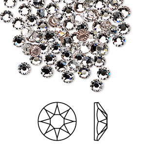 flat back, swarovski crystal hotfix rhinestone, crystal passions, crystal clear, foil back, 3.8-4mm xirius rose (2078), ss16. sold per pkg of 12.