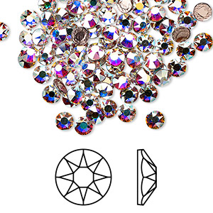 flat back, swarovski crystal hotfix rhinestone, crystal passions, crystal ab, foil back, 3.8-4mm xirius rose (2078), ss16. sold per pkg of 144 (1 gross).