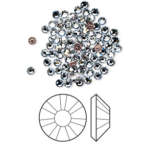 flat back, swarovski crystal hotfix rhinestone, crystal passions, crystal blue shade, foil back, 2.3-2.5mm xilion rose (2038), ss8. sold per pkg of 144 (1 gross).