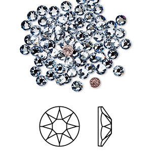 flat back, swarovski crystal hotfix rhinestone, crystal passions, crystal blue shade, foil back, 3-3.2mm xirius rose (2078), ss12. sold per pkg of 12.
