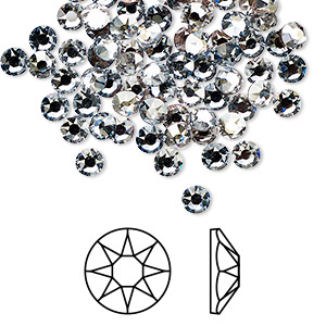 flat back, swarovski crystal hotfix rhinestone, crystal passions, crystal blue shade, foil back, 3.8-4mm xirius rose (2078), ss16. sold per pkg of 144 (1 gross).