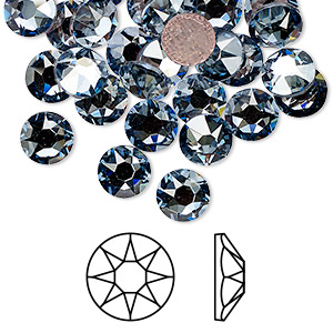 flat back, swarovski crystal hotfix rhinestone, crystal passions, crystal blue shade, foil back, 7.07-7.27mm xirius rose (2078), ss34. sold per pkg of 12.
