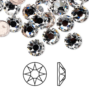 flat back, swarovski crystal hotfix rhinestone, crystal passions, crystal clear, foil back, 8.41-8.67mm xirius rose (2078), ss40. sold per pkg of 12.