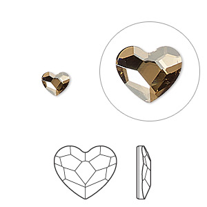 flat back, swarovski crystal hotfix rhinestone, crystal passions, crystal golden shadow, foil back, 6mm faceted heart (2808). sold per pkg of 24.