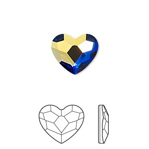 flat back, swarovski crystal hotfix rhinestone, crystal passions, crystal ab, foil back, 14mm faceted heart (2808). sold per pkg of 2.