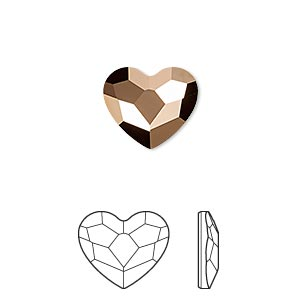 flat back, swarovski crystal hotfix rhinestone, crystal passions, crystal rose gold, foil back, 14x12mm faceted heart (2808hf). sold per pkg of 2.