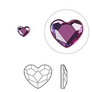 flat back, swarovski crystal hotfix rhinestone, crystal passions, fuchsia, foil back, 6mm faceted heart (2808hf). sold per pkg of 24.