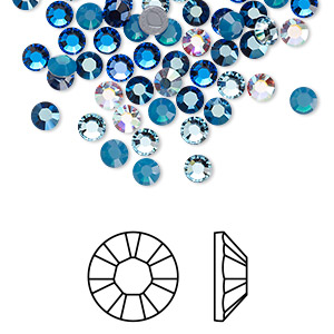 flat back, swarovski crystal hotfix rhinestone, crystal passions, glacier, foil back, 3.8-4mm xilion rose (2028), ss16. sold per pkg of 96.
