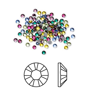 flat back, swarovski crystal hotfix rhinestone, crystal passions, jewel, foil back, 1.9-2.1mm xilion rose (2028), ss6. sold per pkg of 144 (1 gross).