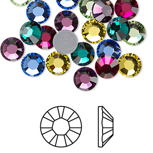 flat back, swarovski crystal hotfix rhinestone, crystal passions, jewel, foil back, 7.07-7.27mm xilion rose (2028), ss34. sold per pkg of 24.