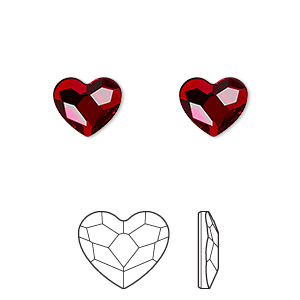 flat back, swarovski crystal hotfix rhinestone, crystal passions, light siam, foil back, 10mm faceted heart (2808). sold per pkg of 24.