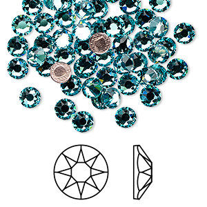 flat back, swarovski crystal hotfix rhinestone, crystal passions, light turquoise, foil back, 4.6-4.8mm xirius rose (2078), ss20. sold per pkg of 12.
