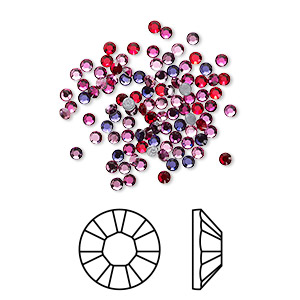 flat back, swarovski crystal hotfix rhinestone, crystal passions, passion, foil back, 1.9-2.1mm xilion rose (2028), ss6. sold per pkg of 144 (1 gross).