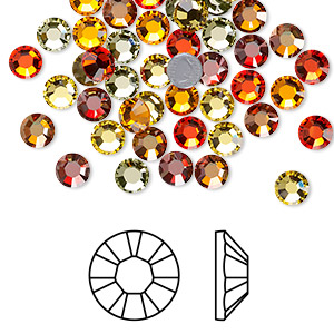 flat back, swarovski crystal hotfix rhinestone, crystal passions, sonoran, foil back, 4.6-4.8mm xilion rose (2028), ss20. sold per pkg of 72.