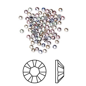 flat back, swarovski crystal hotfix rhinestone, crystal passions, tenderness, foil back, 1.9-2.1mm xilion rose (2028), ss6. sold per pkg of 144 (1 gross).