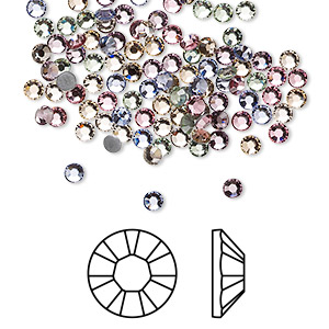 flat back, swarovski crystal hotfix rhinestone, crystal passions, tenderness, foil back, 2.7-2.9mm xilion rose (2028), ss10. sold per pkg of 144 (1 gross).