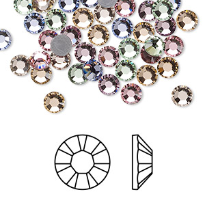 flat back, swarovski crystal hotfix rhinestone, crystal passions, tenderness, foil back, 4.6-4.8mm xilion rose (2028), ss20. sold per pkg of 72.